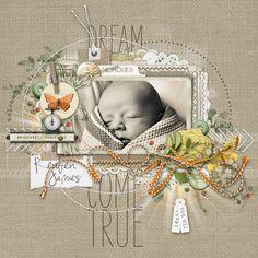 newborn baby scrapbook page from Carolynn at DesignerDigitals.com