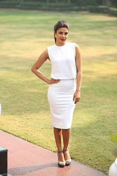 Wearing Victoria Beckham for a profile shoot in the Hindustan Times. - ELLE.com