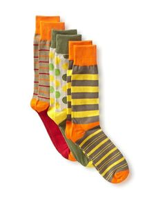 English Laundry Men S Colorful Dots And Stripes 3 Pack Socks At