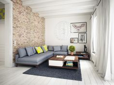 Cegła na ścianie + niska kanapa