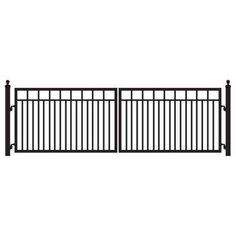 Sanibel 16 ft. W x 4 ft. H 8 in. Powder Coated Steel Dual Driveway Fence Gate