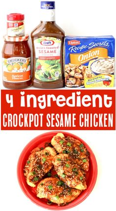 {Just 4 Ingredients} - Crockpot Chicken Recipes - Easy Sesame Slow Cooker Dinner! {Just 4 Ingredients} Skip the takeout and serve up a savory Asian dinner the whole family w. Easy Crockpot Chicken, Crockpot Dishes, Crock Pot Cooking, Easy Chicken Recipes, Easy Healthy Recipes, Easy Dinner Recipes, Easy Meals, Easy Sesame Chicken, Chicken Cooker