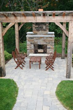 like the patio, outdoor fireplace