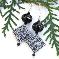 Diamond Cross Pewter Lampwork Earrings Handmade Black Beaded Jewelry    ShadowDogDesigns - Jewelry on ArtFire