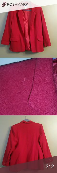 Blazer Beautiful Red wool blazer, I purchased from another Posher, put the sleeves are too short. It's great for the holiday, causual, and office wear.  Can be dressed up or down. Has a lining as you can see in the pictures. The sleeves measured from shoulder to wrist is 22 inch. The blazer is a size 18.  Has a small unnoticed blemish as shown in the picture. Pendleton Jackets & Coats Blazers