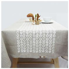 Beautiful grey linen, hand printed tablecloth