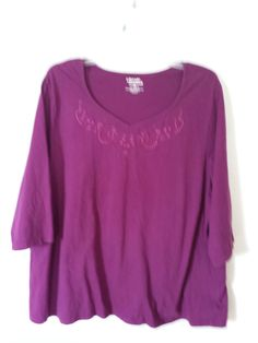Plus size clothes can be affordable, comfortable and beautiful!!  Liz & Me Essentials Purple Shirt Vneck Embroidery Bead Design Plus Sz 26/28 3x4x