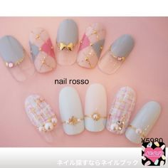 25 Elegant Red Japanese Nail Art Design For Round Nails – Page 7 of 25 - Beauty Home So Nails, Fancy Nails, Cute Nails, Pretty Nails, Hair And Nails, Bling Nails, Korean Nail Art, Korean Nails, Japanese Nail Design