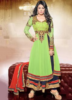Glamorous Green Ankle Length Anarkali Suit