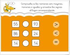 """¿Mayor, menor o igual?"" (Juego de comparación de números hasta el 100) Education, Erika, Irene, Comparing Numbers, Learning Numbers, Teaching Resources, The 100, Onderwijs, Learning"