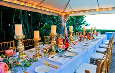 Intimate Outdoor Fête on Kapalua Bay Beach | Hawaii. florals by Dellables.com