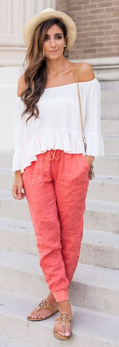 Coral Linen Cool Pants by The Darling Detail