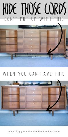To organize all the cords underneath your TV console neatly together, tie them together with zip cords, then use a wall-mount surge protector to plug in multiple electronics at a time.