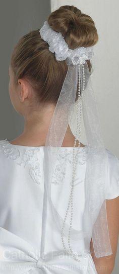 First Communion Bun Wrap in Lace with Organza and Pearl Ribbon : Bun Hairstyles, Wedding Hairstyles, Communion Hairstyles, First Communion Veils, Flower Bun, Bun Wrap, Bridal Updo, Hair Vine, Floral Hair