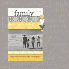 This is actually a scrapbook page, but I think it would make a great card map.  The grey and yellow is pretty.