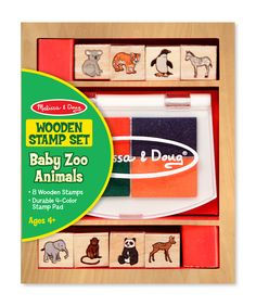 Baby Zoo Animals Wooden Stamp Set. ECA LISTING BY Granny's Shop Durban, South Africa