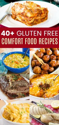40 of the Best Gluten Free Comfort Food Recipes for Dinner - all the hearty and satisfying dishes you love! Soup stew casseroles skillet meals crockpot recipes and more! Gluten Free Meal Plan, Lactose Free Recipes, Wheat Free Recipes, Gluten Free Recipes For Dinner, Foods With Gluten, Gluten Free Cooking, Sans Gluten, Crockpot Recipes Gluten Free, Gluten Free Soups
