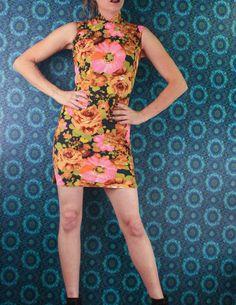 60's Retro CHEONGSAM MICRO DRESS // Funky Floral // by sideshowsam