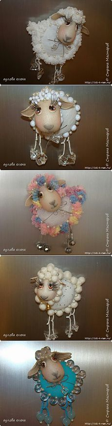Ovce-magnety z nylonu, master class - Řemesla Fabric Crafts, Sewing Crafts, Shaun The Sheep, Ceramic Animals, Beaded Animals, Kokeshi Dolls, Clay Dolls, Soft Dolls, Felt Ornaments