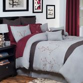 Sophisticated and modern, the Grace 14 Piece Comforter Set from Lavish Home will compliment any bedroom. Rich red and neutral greys create an elegant backdrop for the embroidered Japanese cherry blossom design. This bold bedding set is sure to impres Bed Comforter Sets, Best Bedding Sets, Comforters, Bed Sets, Asian Inspired Bedroom, Asian Bedroom, Windsor Homes, Gold 1, Embroidered Bedding