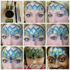 Easy peacock face painting tutorial by Cameron Garrett, Making Faces & Tutus… Peacock Face Painting, Face Painting Images, Face Painting Tips, Face Painting Tutorials, Face Painting Designs, Painting Patterns, Paint Designs, Tole Painting, Mime Face Paint