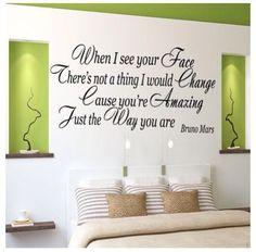 Bedroom, wall decor, wall sticker, quotes, lyrics, Bruno mars