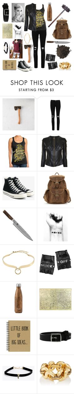 """""""Courtney"""" by fashionistafrontcover ❤ liked on Polyvore featuring Boohoo, Versace, Converse, Shun, Alexis Bittar, Funk Plus, West Elm and rag & bone"""