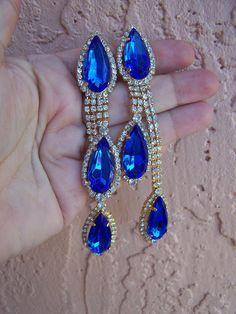 Vintage Juliana Royal Blue Rhinestone Dangle by goodfindsfrommiami, $29.00