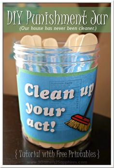 Organization Ideas kids DIY 'Clean Up Your Act!' Punishment Jar Craft (Free Printables) DIY Clean Up Your Act punishment jar how-to with free printable jar and craft stick labels Jar Crafts, Craft Stick Crafts, Craft Sticks, Parenting Advice, Kids And Parenting, Foster Parenting, Punishment Ideas, Behaviour Chart, Behavior Chart Printable
