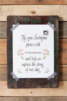 free instagram wedding sign #freeprintables #weddingchicks http://www.weddingchicks.com/2014/03/14/free-printables-2/