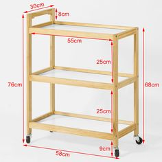 SoBuy Wooden 3 Shelves Serving Trolley on Wheels, Home Kitchen Trolley Cart, Perfect Entertaining Wooden Pallet Furniture, Diy Furniture, Kitchen Trolley Cart, Bar Cart, Wood Cart, Serving Trolley, Diy Holz, Wooden Kitchen, Diy Wood Projects