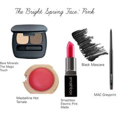 The Bright Spring Face: Pink by catelinden on Polyvore featuring beauty, Bare Escentuals, Smashbox, Butter London, MAC Cosmetics and Maybelline