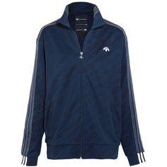 Adidas Originals By Alexander Wang Embroidered jacquard jacket (£210) ❤ liked on Polyvore featuring navy and adidas originals