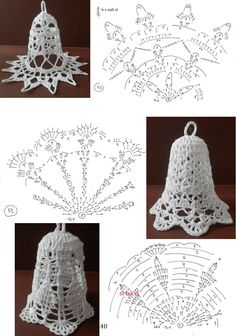 Мобильный LiveInternet Вяжем к Новому году | shegelen - Дневник shegelen | Crochet Snowflake Pattern, Christmas Crochet Patterns, Crochet Christmas Ornaments, Crochet Snowflakes, Holiday Crochet, Christmas Bells, Christmas Knitting, Thread Crochet, Filet Crochet