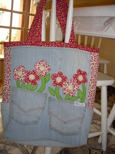 Turn old jeans into a bag. Pretty cute.  idea only......................