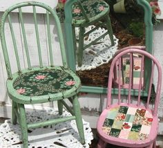 Thrifted chairs decoupaged with wallpaper