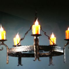 Cool hand forged iron chandelier.