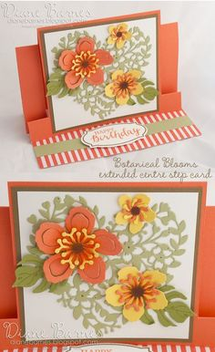 Centre step fancy fold birthday card using Stampin Up Botanical Blooms…