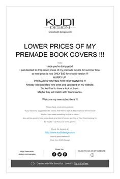lower prices of my premade covers!