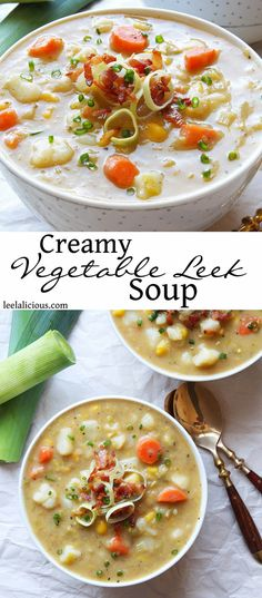 This Creamy Vegetable Soup with Leek, Potatoes and Carrots is #dairyfree and a hit with the entire family