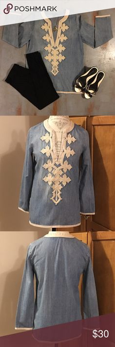 J. Crew Denim Tunic Gorgeous denim Tunic by J. Crew. So much attention to detail was put into making this tunic. Just a beautiful addition to your closet. Would pair great with white denim jeans or black jeans. J. Crew Tops Tunics