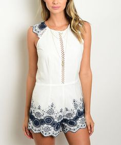 Look at this #zulilyfind! Ivory & Navy Crochet-Front Romper #zulilyfinds
