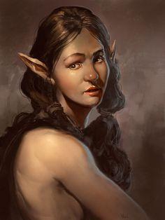 Pretty Elf Lady, a digital painting by Noah Bradley
