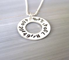 Latitude Longitude Necklace Sterling Silver by ESDesigns14 on Etsy