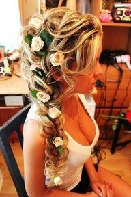 Wedding Hair Ideas - Flowers woven into braid.
