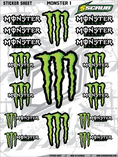 Green Monster Energy Claws Sticker Decal Supercross by SCRUB.Available now!!! #decals #mxgraphics ScrubDesignz.com