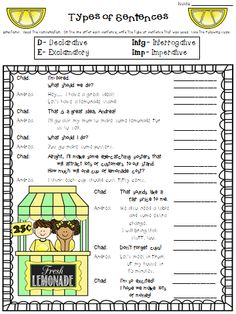 Are you teaching students to identify the four types of sentences? Check out this free practice worksheet! Teaching Writing, Writing Activities, Teaching Tools, Writing Ideas, Student Teaching, Learning Resources, Kids Learning, Sentence Anchor Chart, Anchor Charts