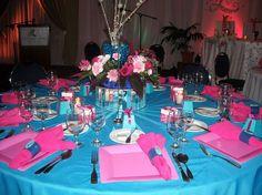 pink and blue wedding candy table Wedding Candy Table, Wedding Hall Decorations, Wedding Reception Seating, Wedding Themes, Wedding Ideas, Reception Table, Table Decorations, Fuchsia Wedding Theme, Aqua Wedding