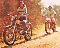 Girl and boy on Bultaco motorbikes Spain 1973 - complete with Bultaco Tshirts