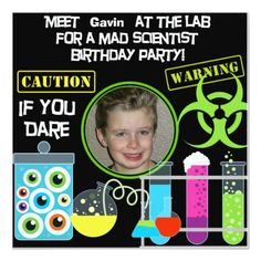 Mad Scientist Birthday Party 2 Invitations